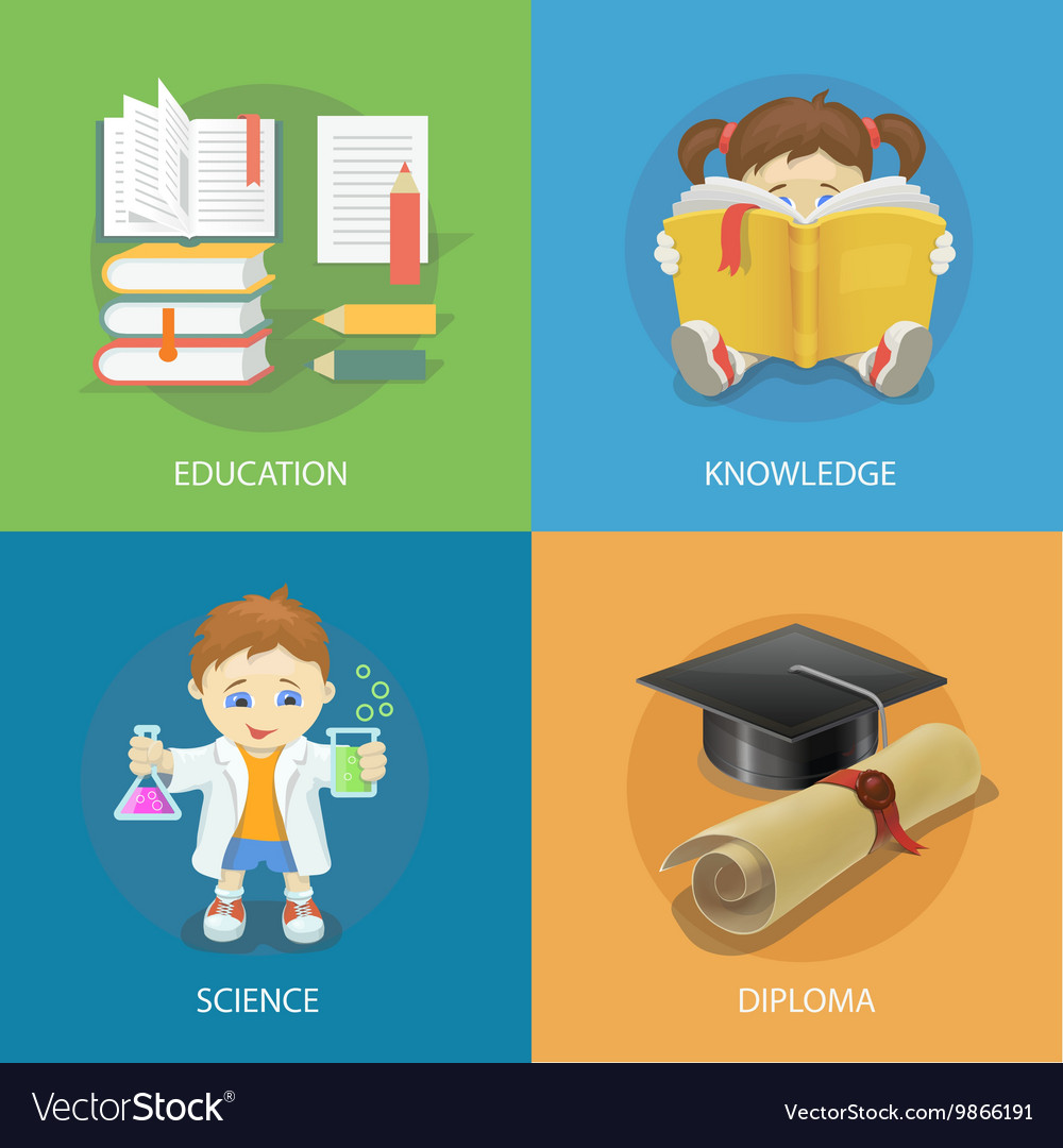 School design concept set with education diploma