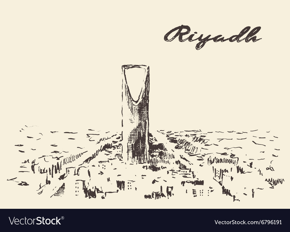 Sketch of Riyadh skyline drawn vector image