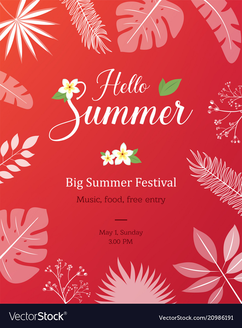 Summer natural placard poster flyer or