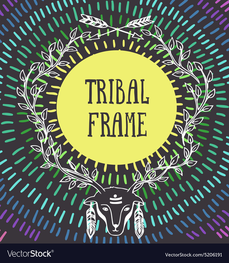 Tribal frame with with the head of a deer