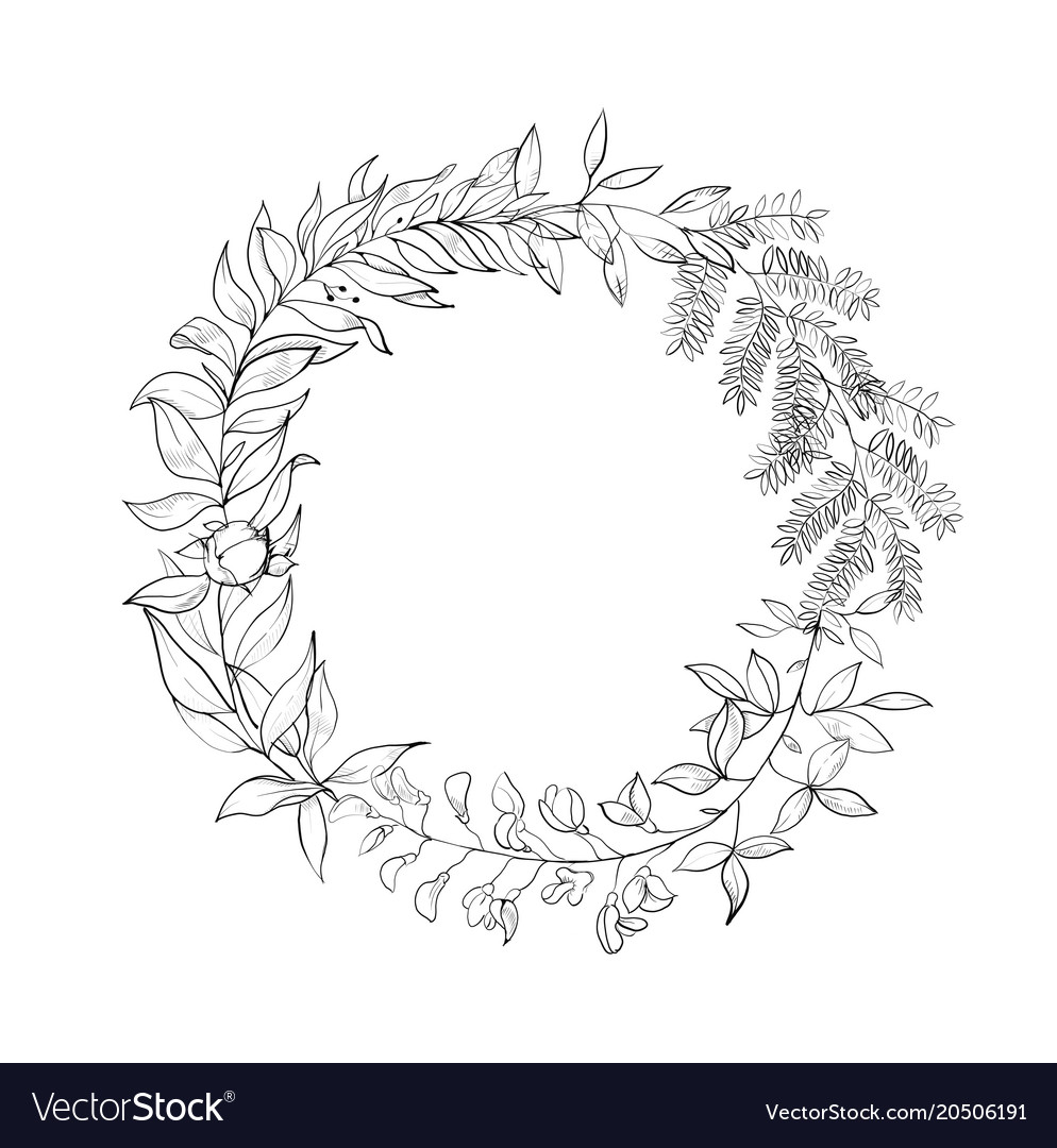 Vintage wreath of leaves