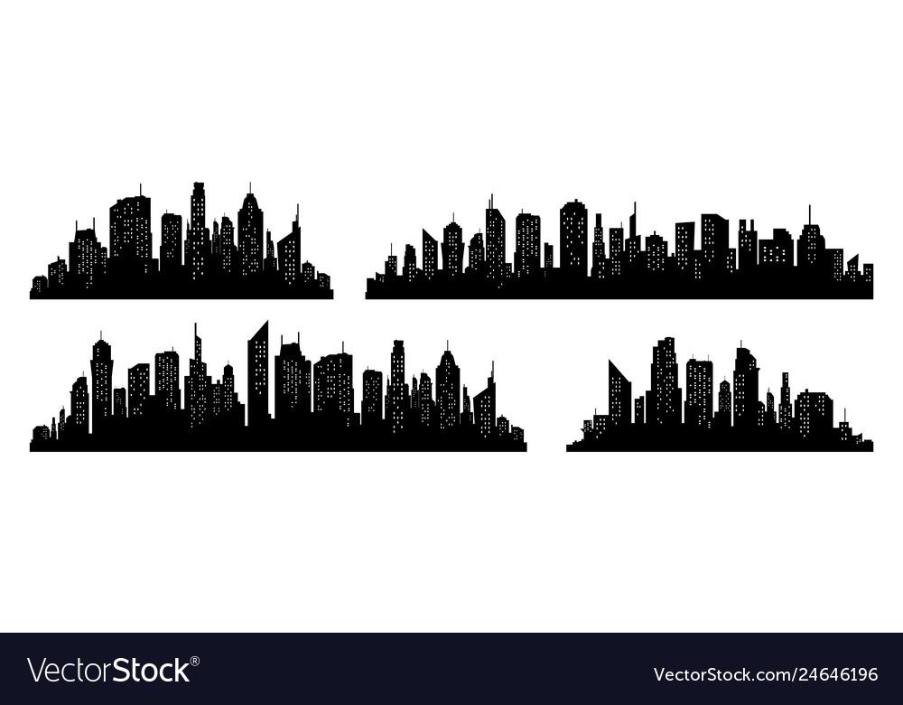 City silhouette set panorama city