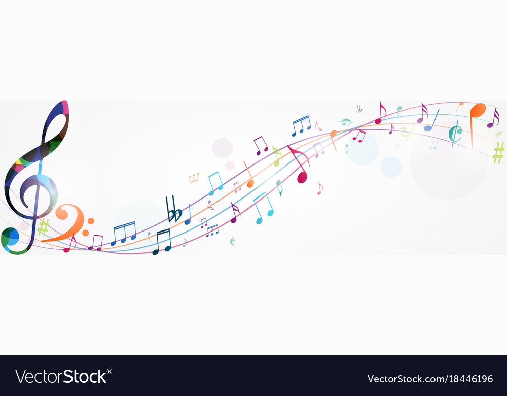 Colorful music notes background Royalty Free Vector Image  Colorful music ...