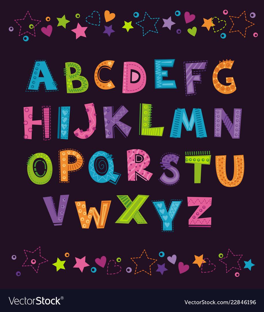 Cute funny childish alphabet on the dark