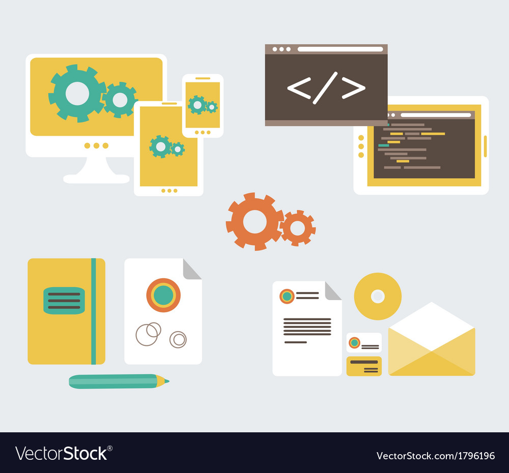 Flat design of business branding and development w