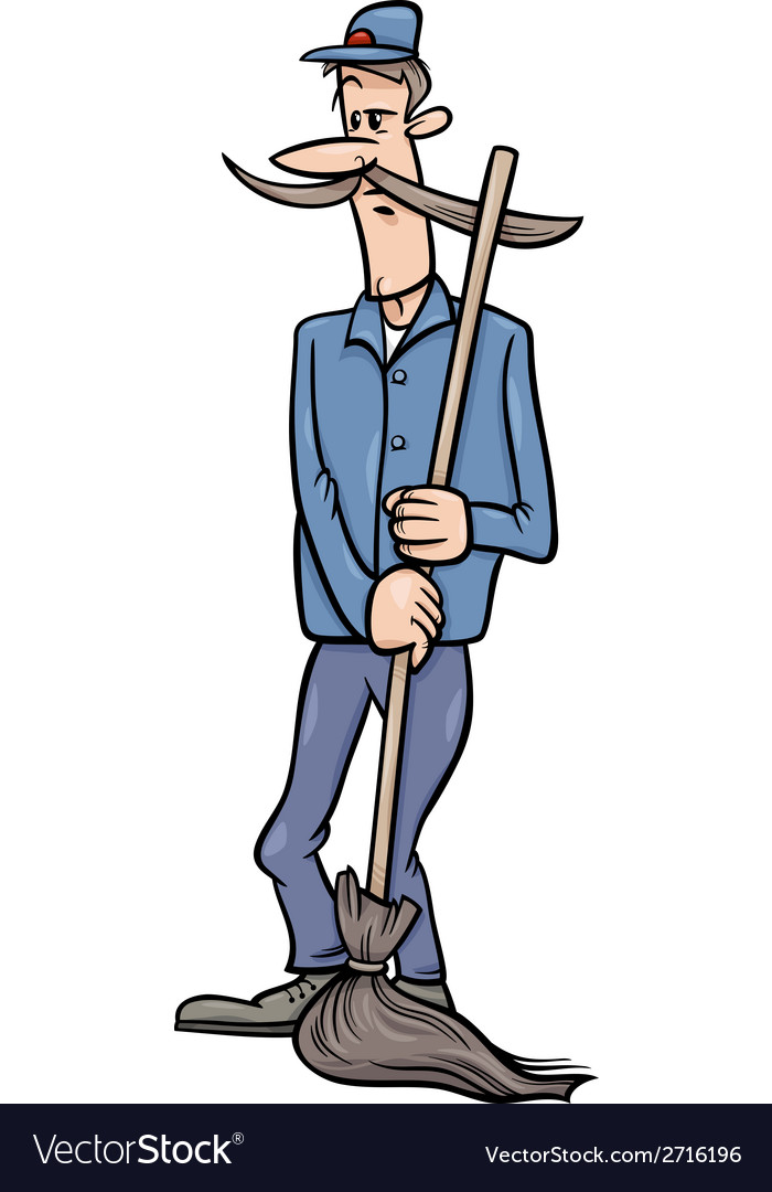 Janitor man with broom cartoon vector image