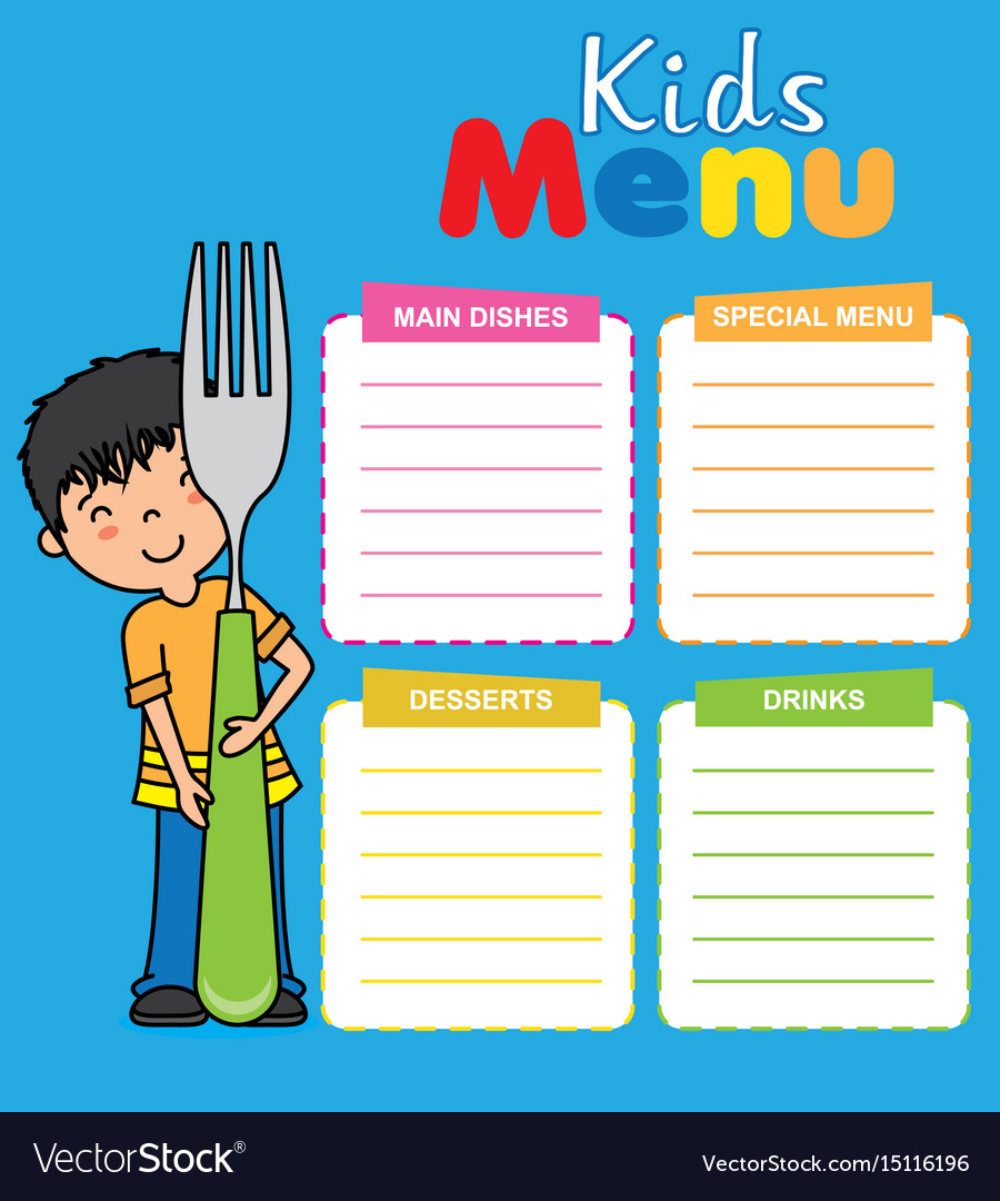 Kids menu template Royalty Free Vector Image - VectorStock