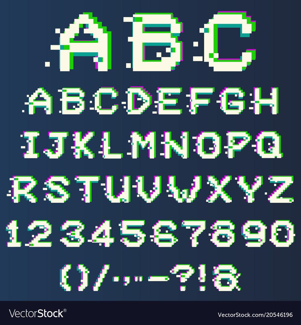 Pixel alphabet with glitch effect modern font