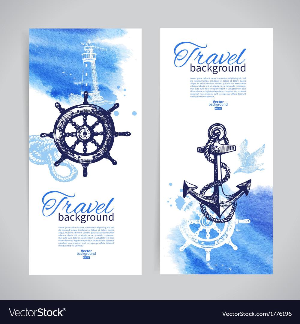 Set of travel banners Sea nautical design