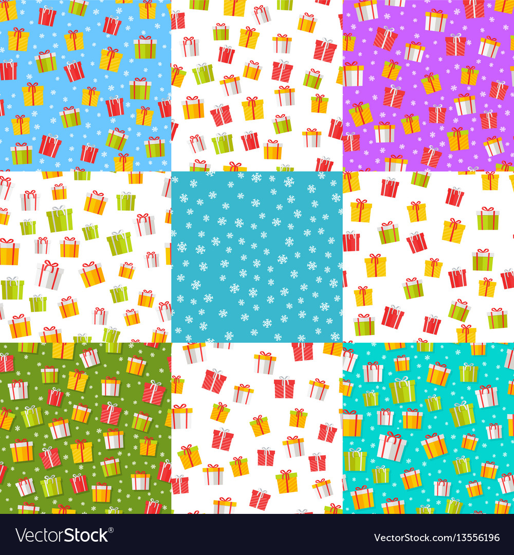 Wrapped present boxes set on colourful backgrounds vector image