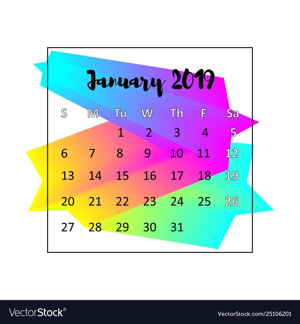 2019 calendar design concept january 2019