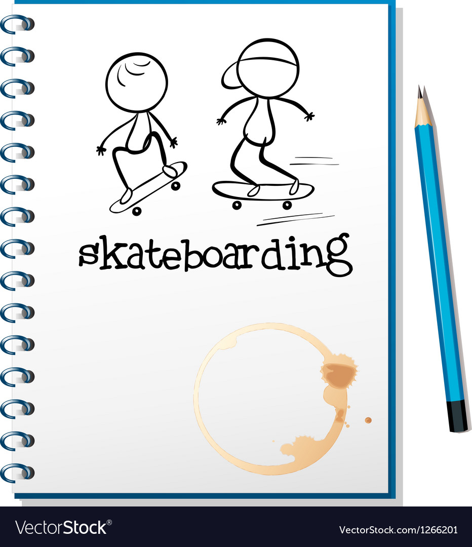 A notebook with two people skateboarding in the