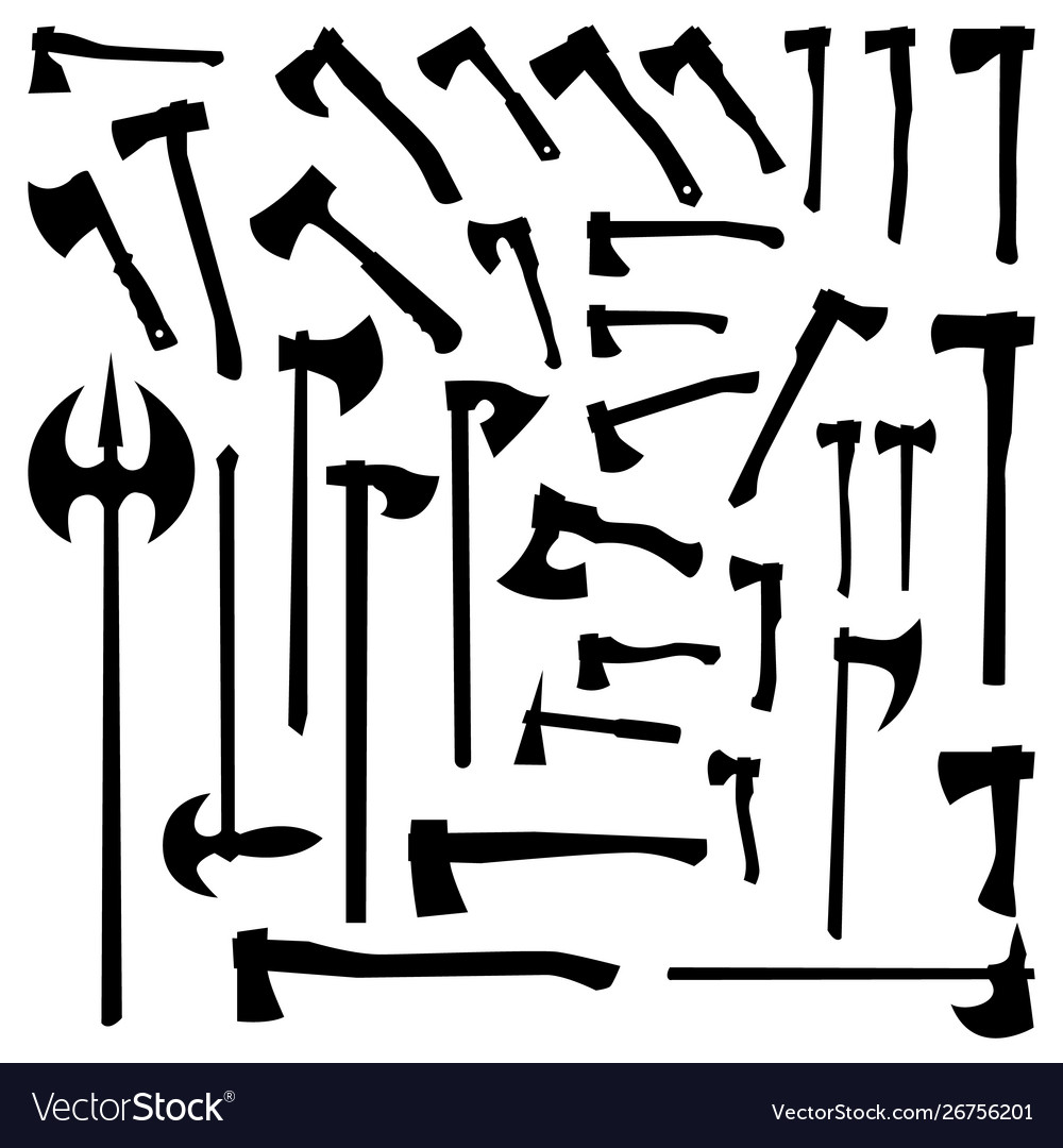 Axes set silhouettes on a