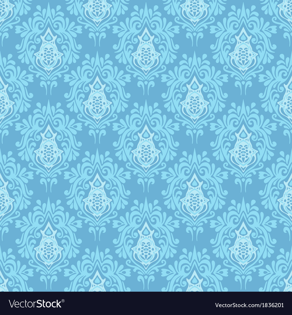 Blue damask seamless pattern background