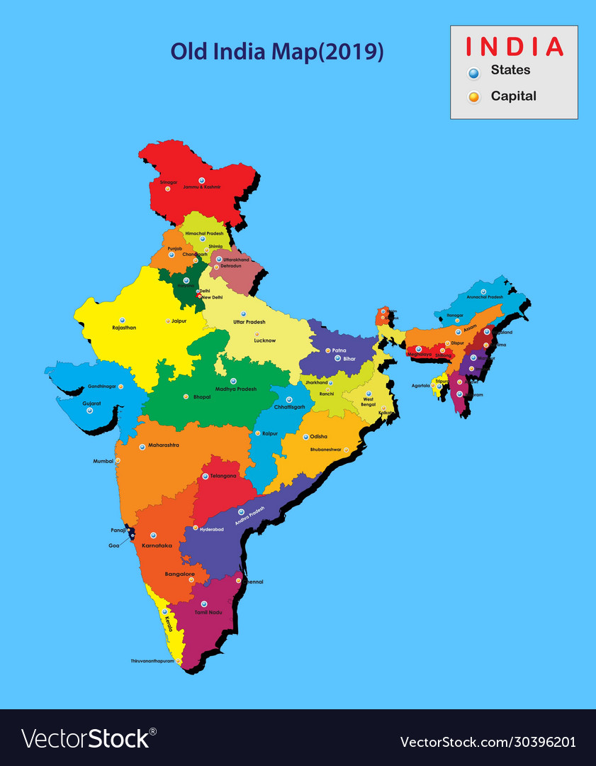 Picture of: Capitals In India India Map 2020 India Map In 3d Vector Image