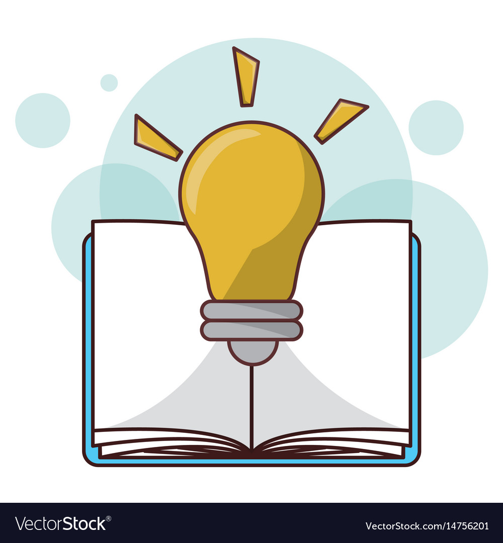 Cartoon Book Bulb Light Idea Read Learn Design Vector Image