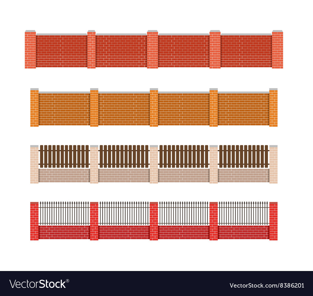 Fence Brick fence and wood fence Fence around the vector image