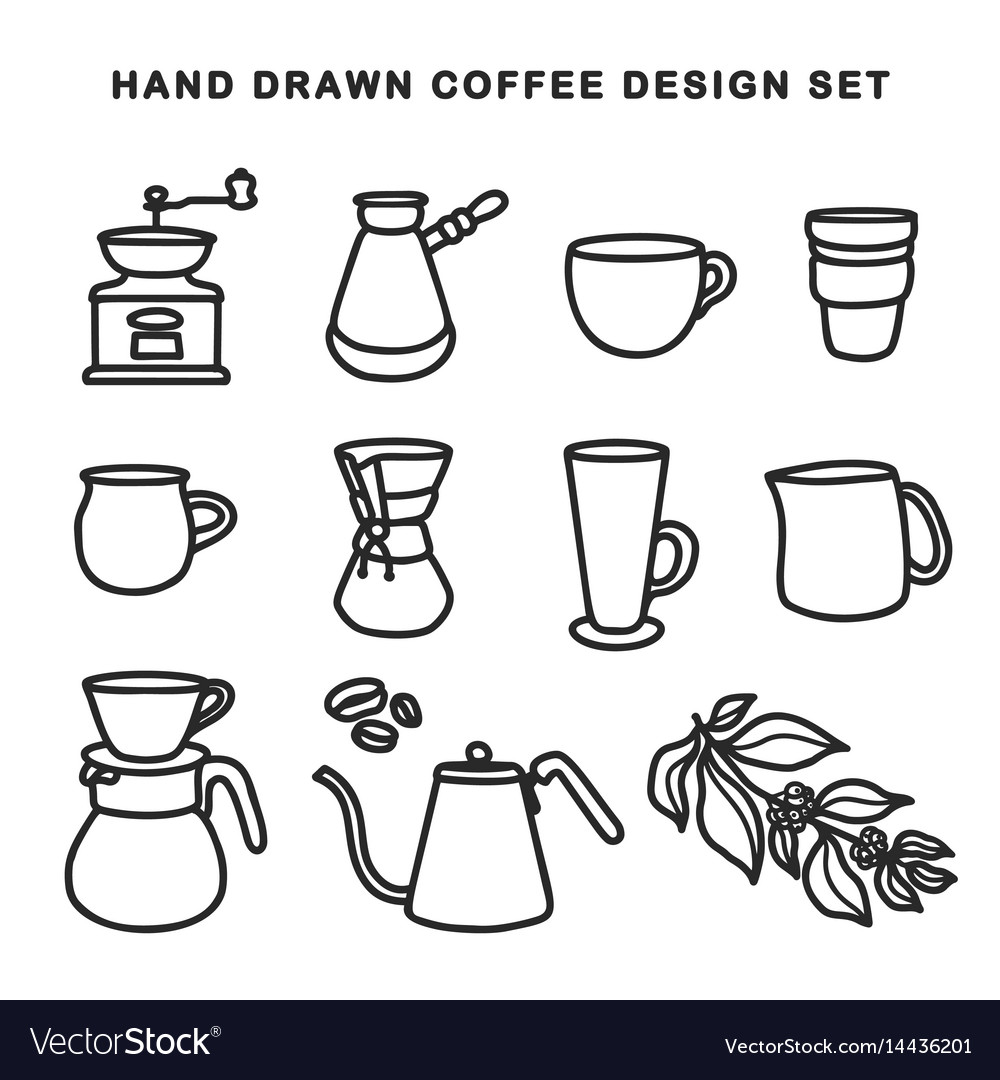 Hand drawn coffee design set vintage