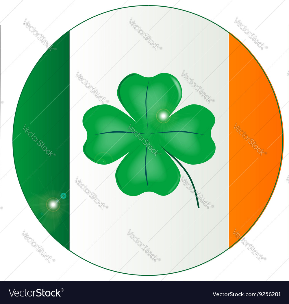 Irish Flag With Lucky Shamrock Button Royalty Free Vector