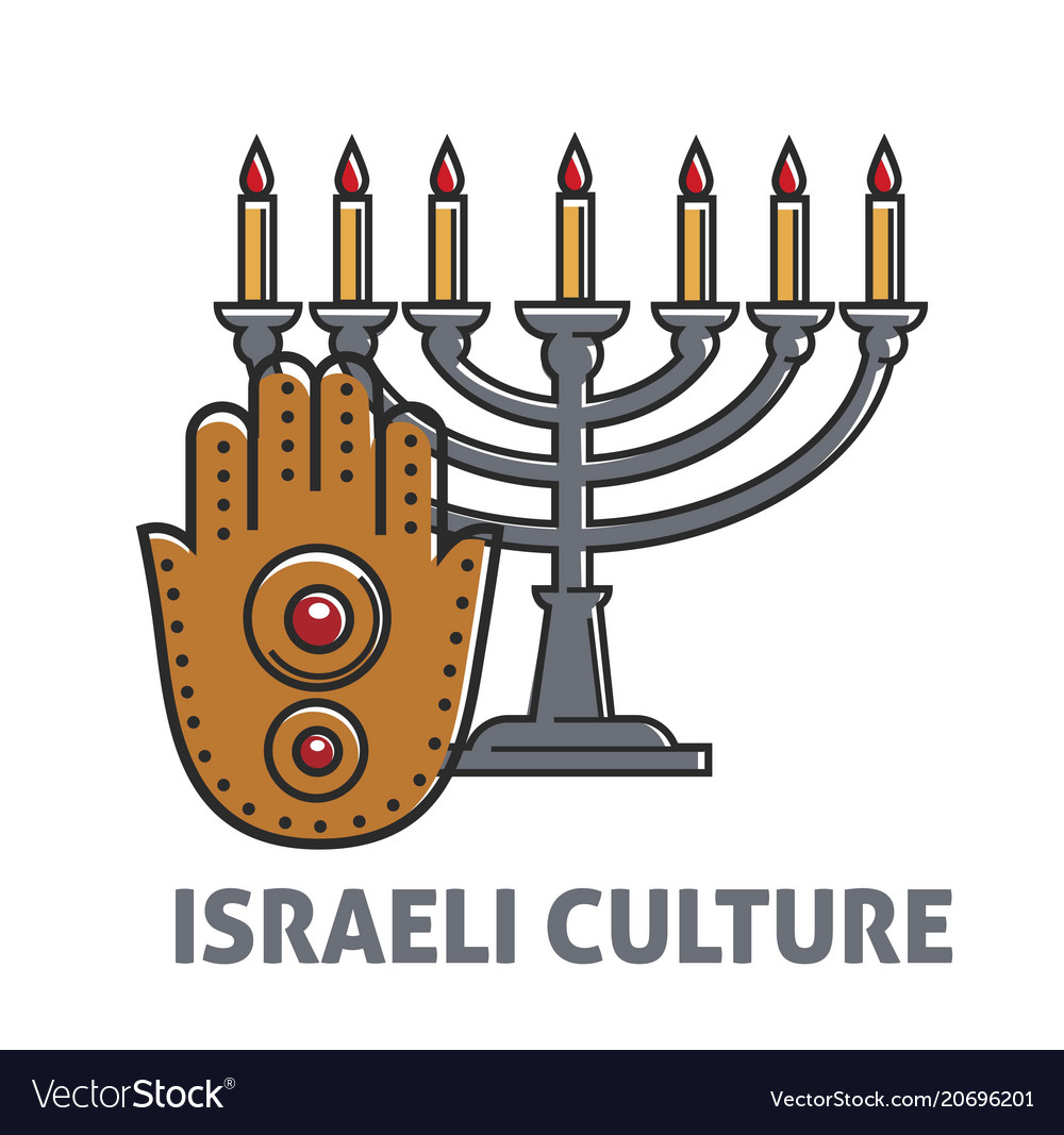 Israeli culture promo poster with vintage candle
