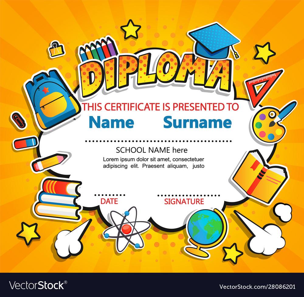 Kids diploma certificate on vintage background