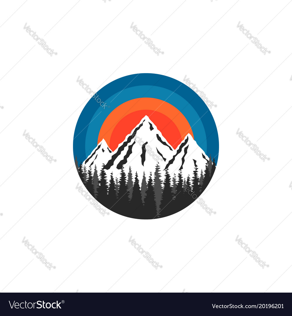 Mountain logo round shape snow-capped peaks rocks