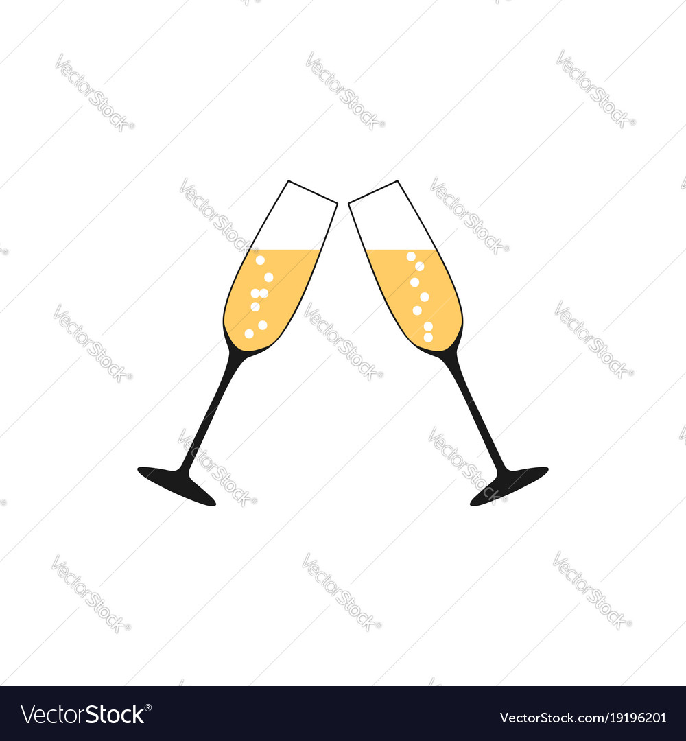 Pair of champagne glasses set of sketch style