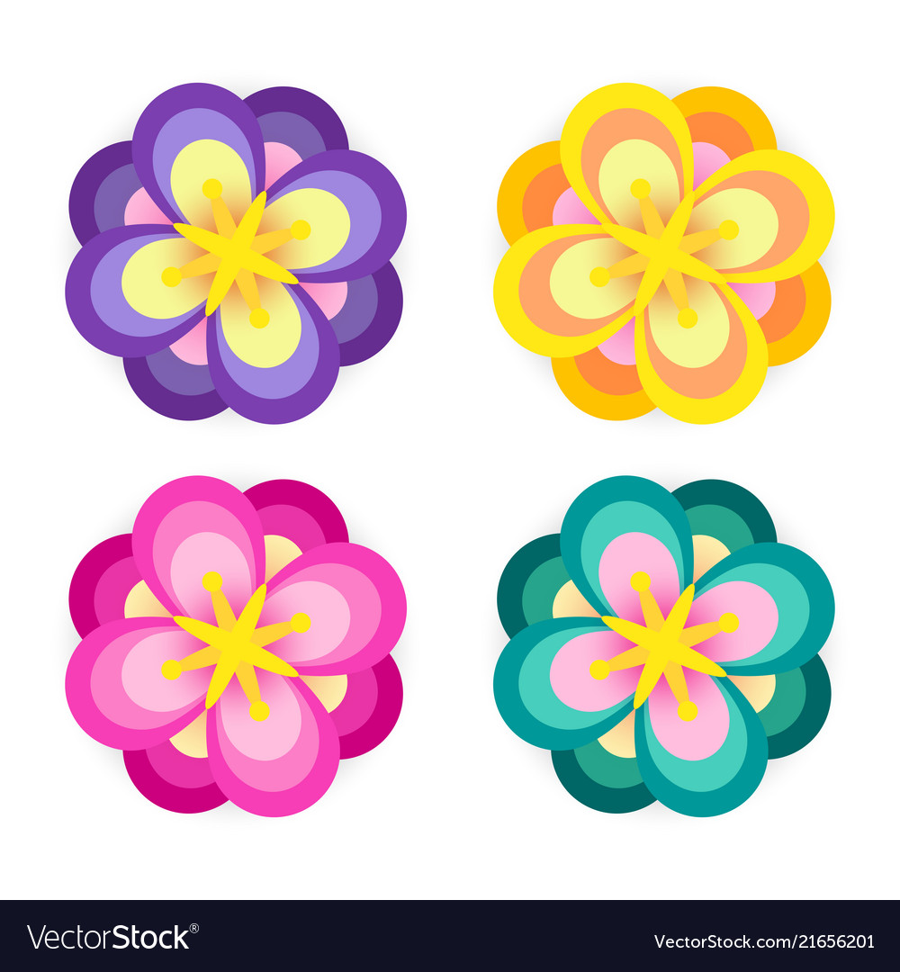 Set colorful flower element decor isolated for