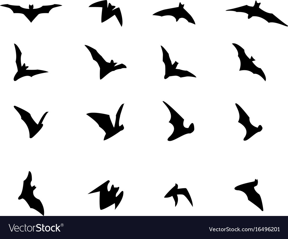 Set of flying bat silhouette icons