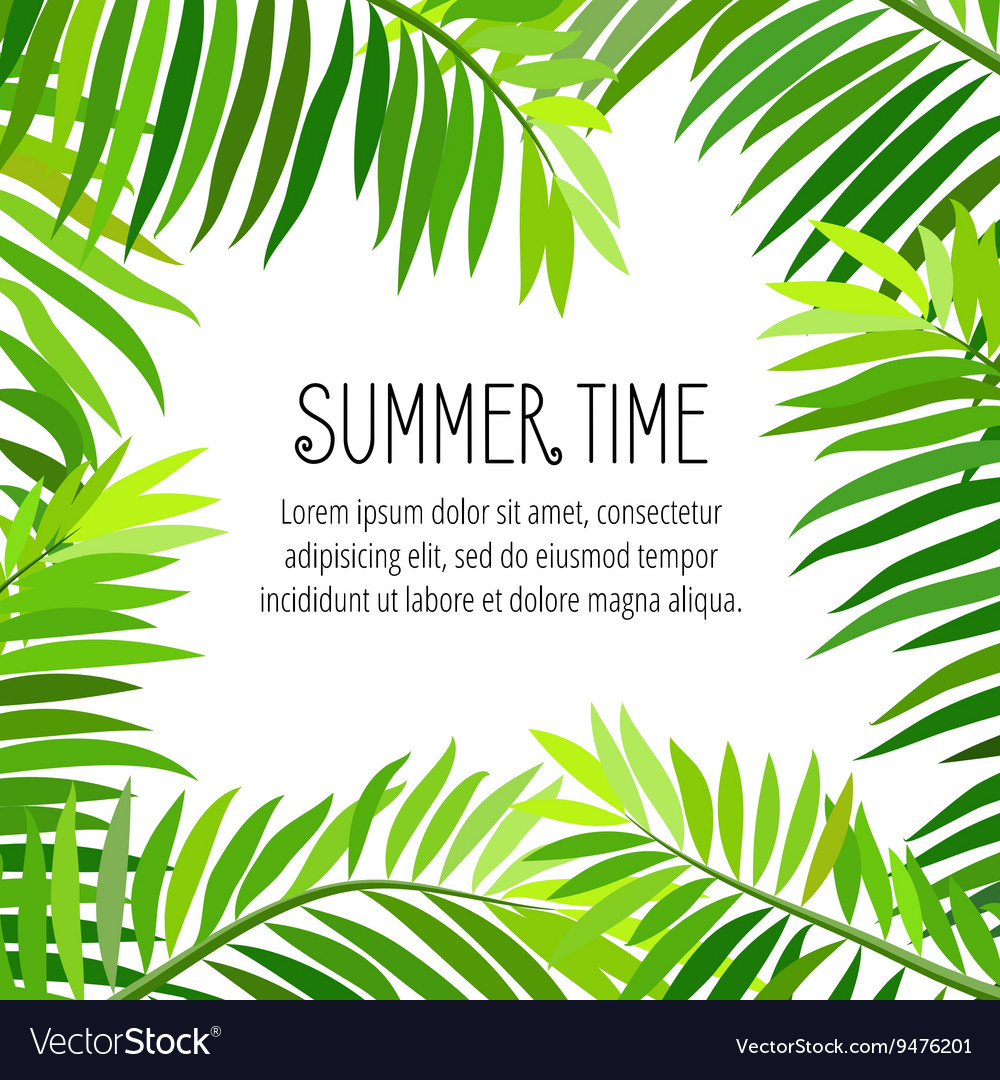 Summer party poster with palm leaf