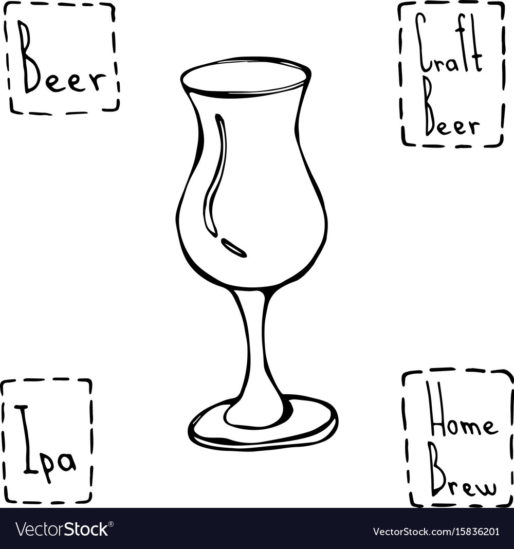 Tulip beer glass hand drawn