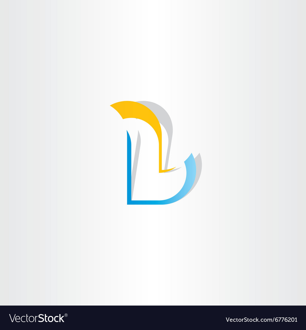 Yellow blue logo letter l icon element vector image