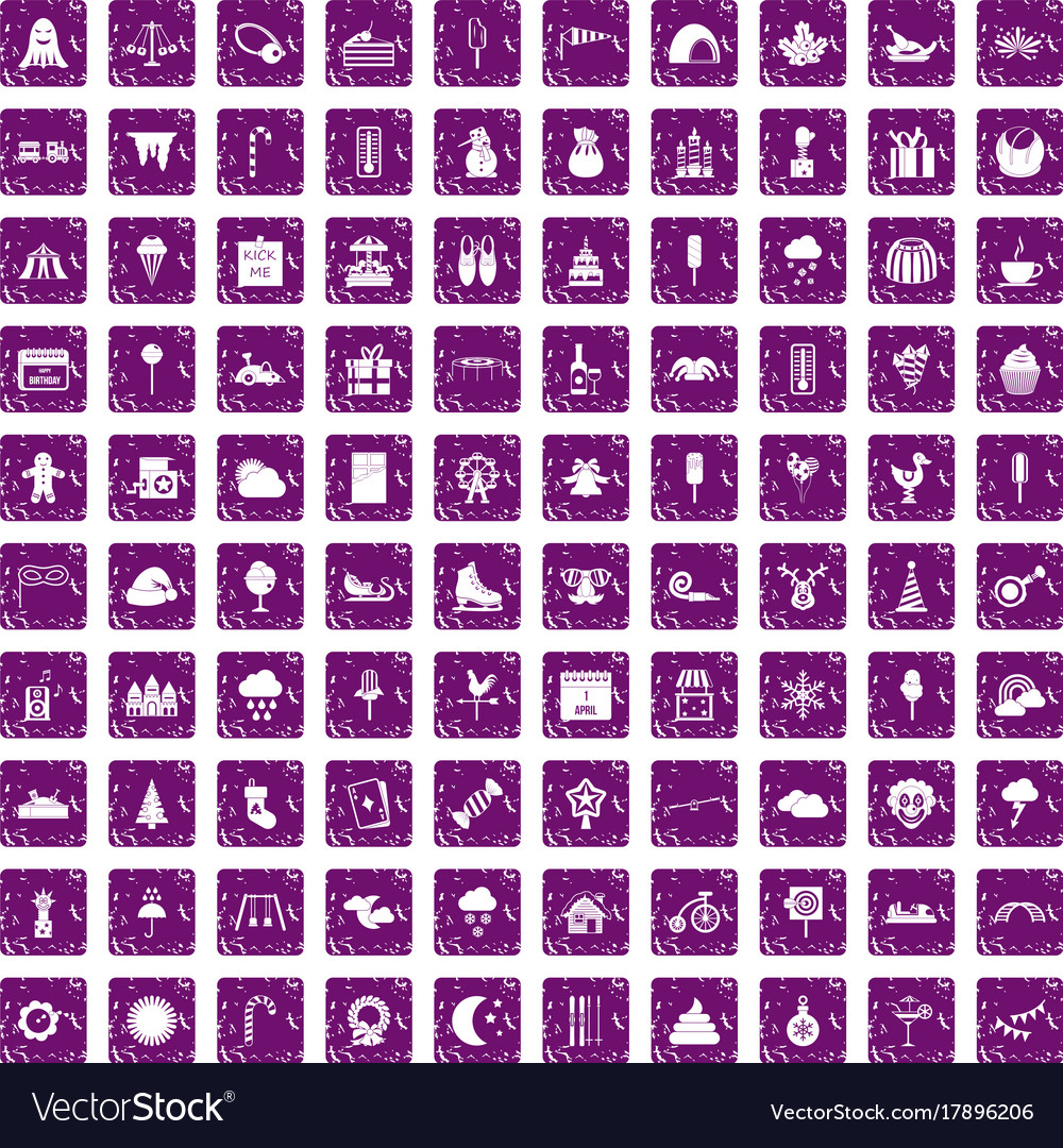 100 childrens parties icons set grunge purple vector image