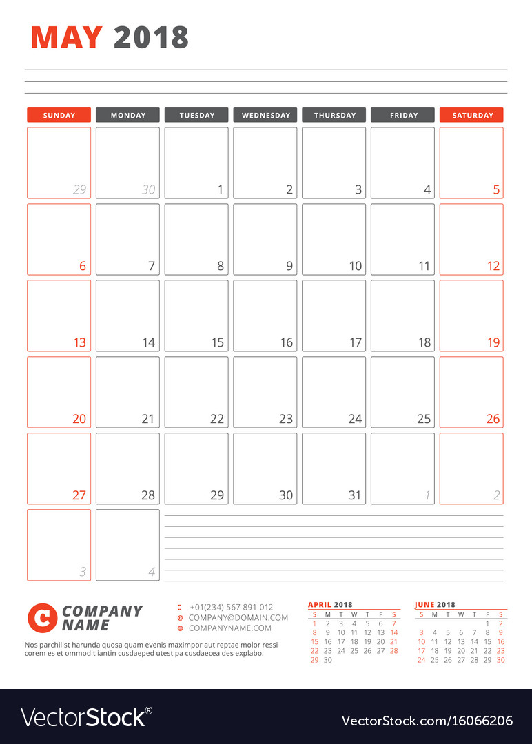 Calendar template for 2018 year may business vector image cheaphphosting Choice Image