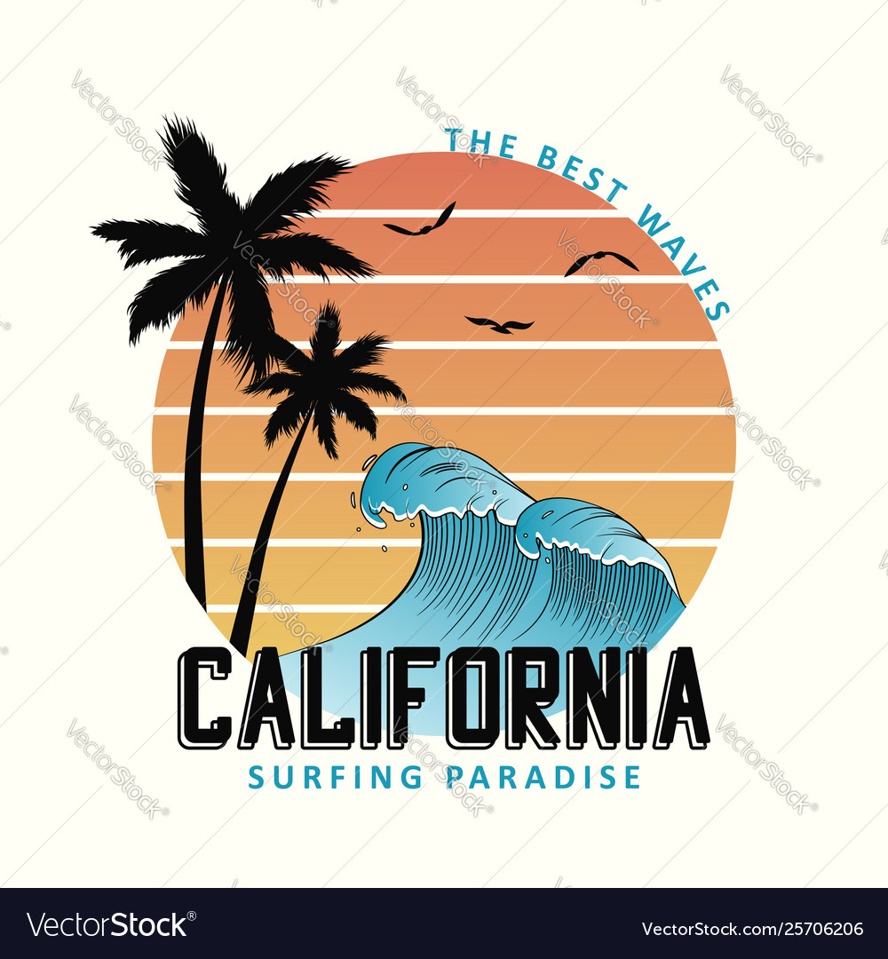 California slogan for t-shirt typography with