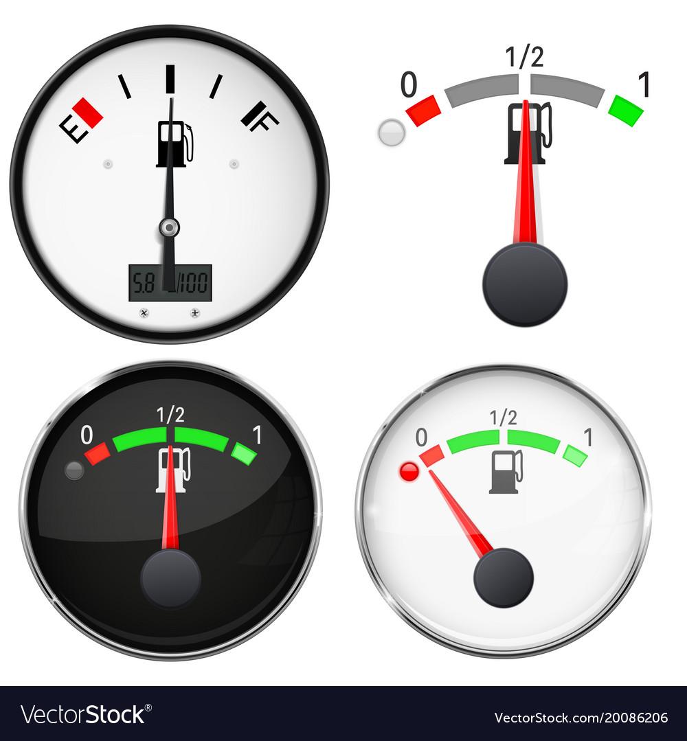 Car Dashboard Gauges Fuel Level Scales 3d Vector Image Diagram