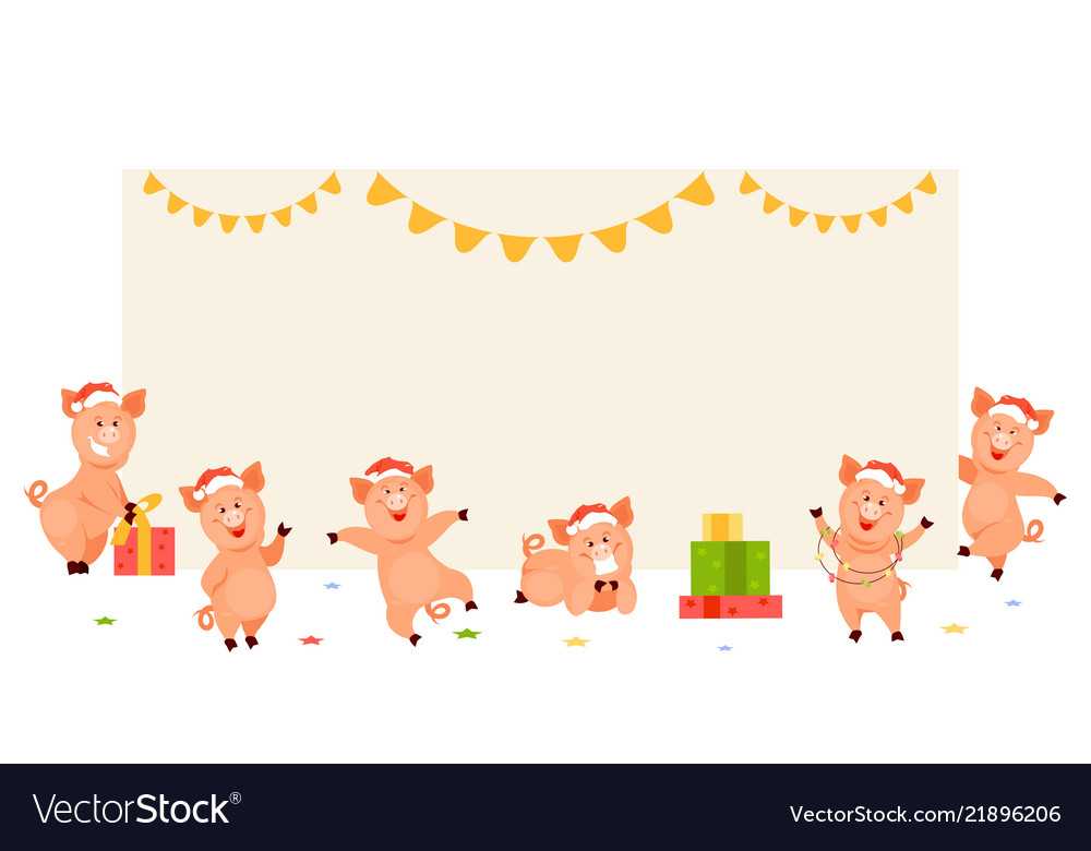 Christmas pigs at the empty banner