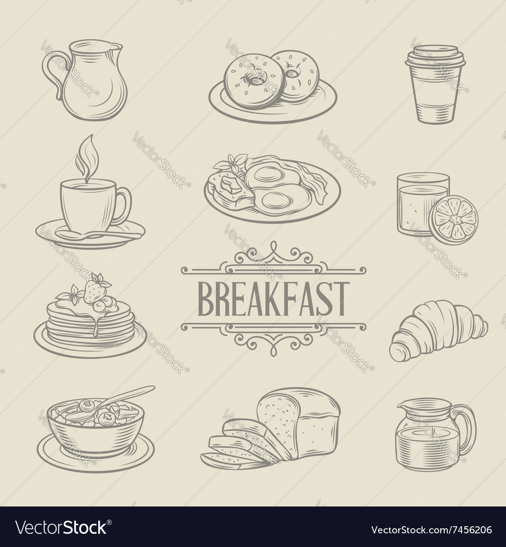 Decorative hand drawn icons breakfast foods
