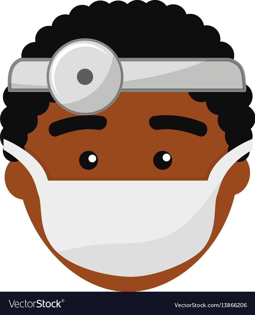 Doctor face with medical mask and reflector