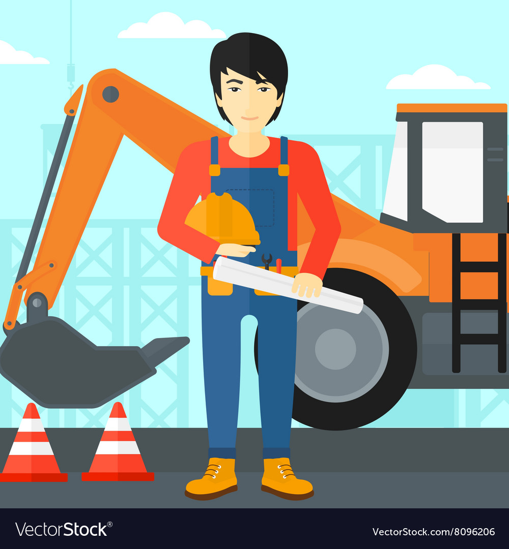 Engineer with hard hat and blueprint royalty free vector engineer with hard hat and blueprint vector image malvernweather Choice Image