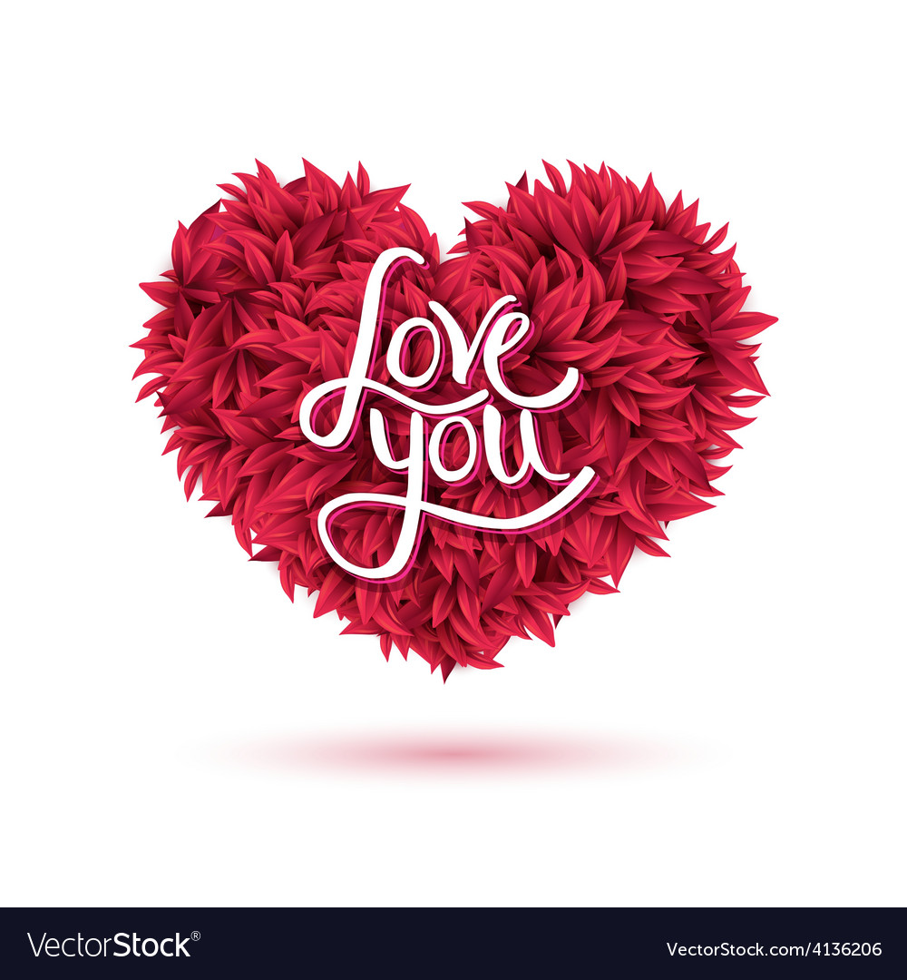 love you message on red flowers forming heart vector image