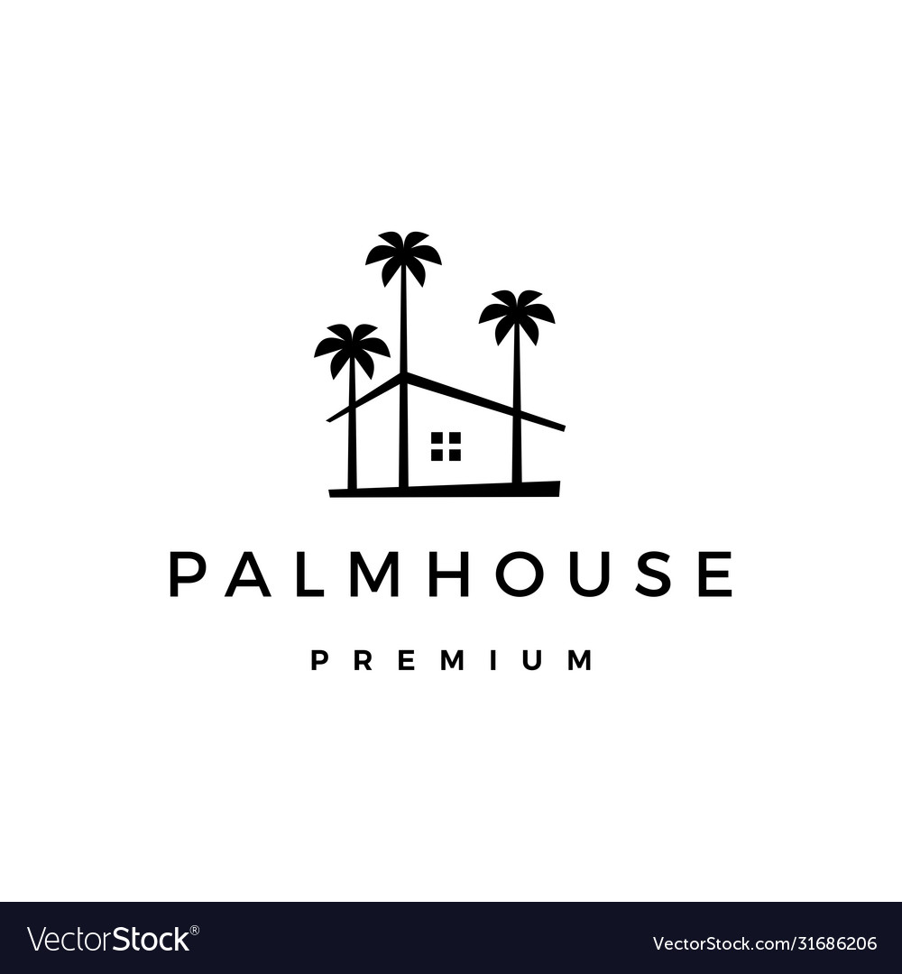 Palm house tree home logo icon vector