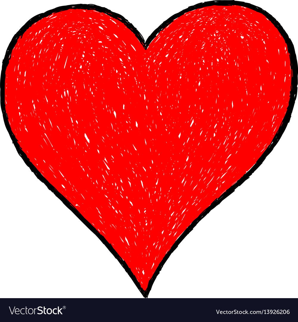 Heart Drawing red heart drawing with black contour vector image on vectorstock