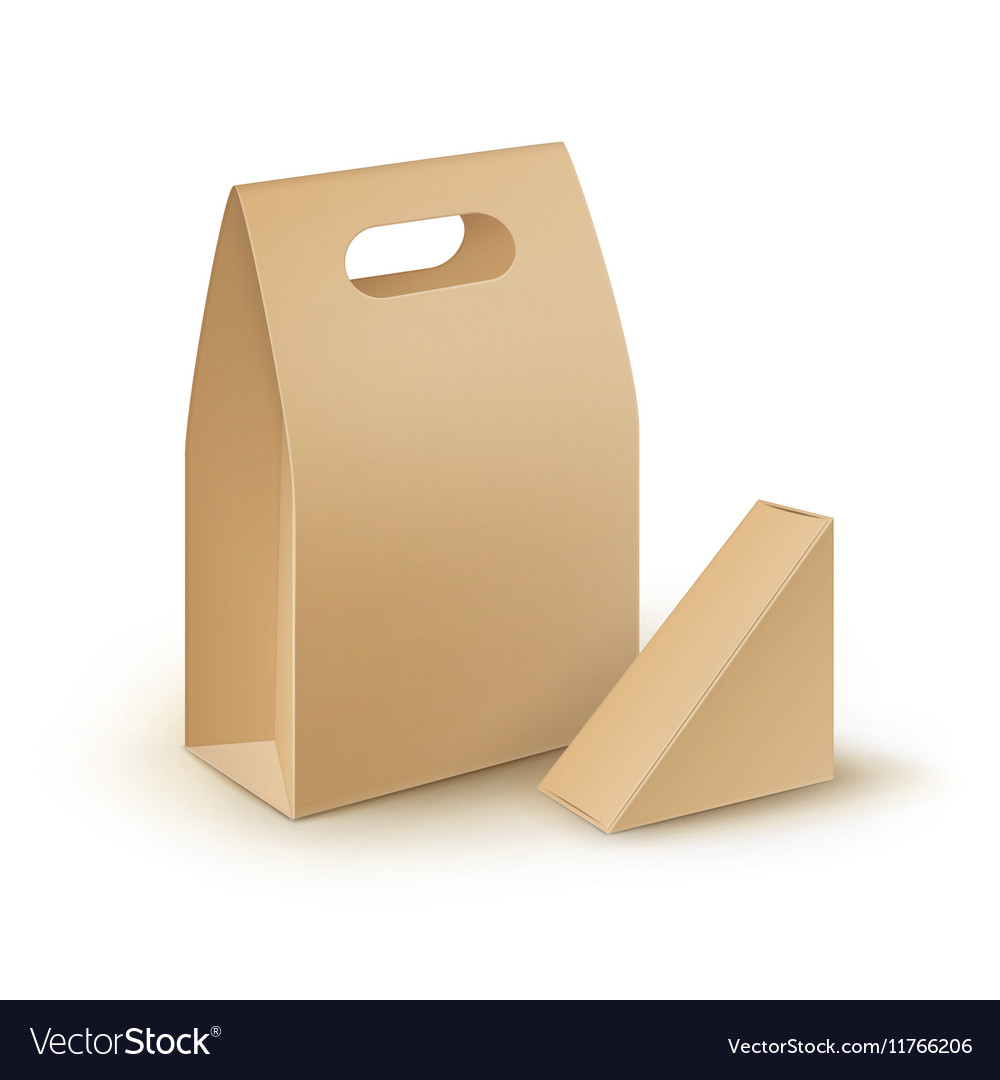 Set of Cardboard Handle Lunch Boxes For Sandwich vector image