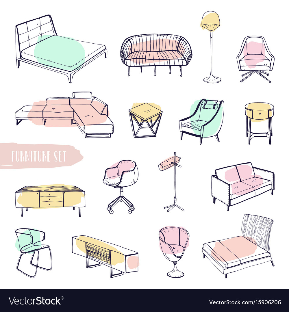 Set of various furniture hand drawn different