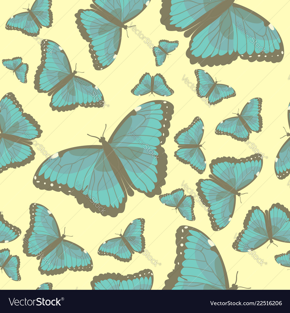 Summer seamless pattern with turquoise butterflies