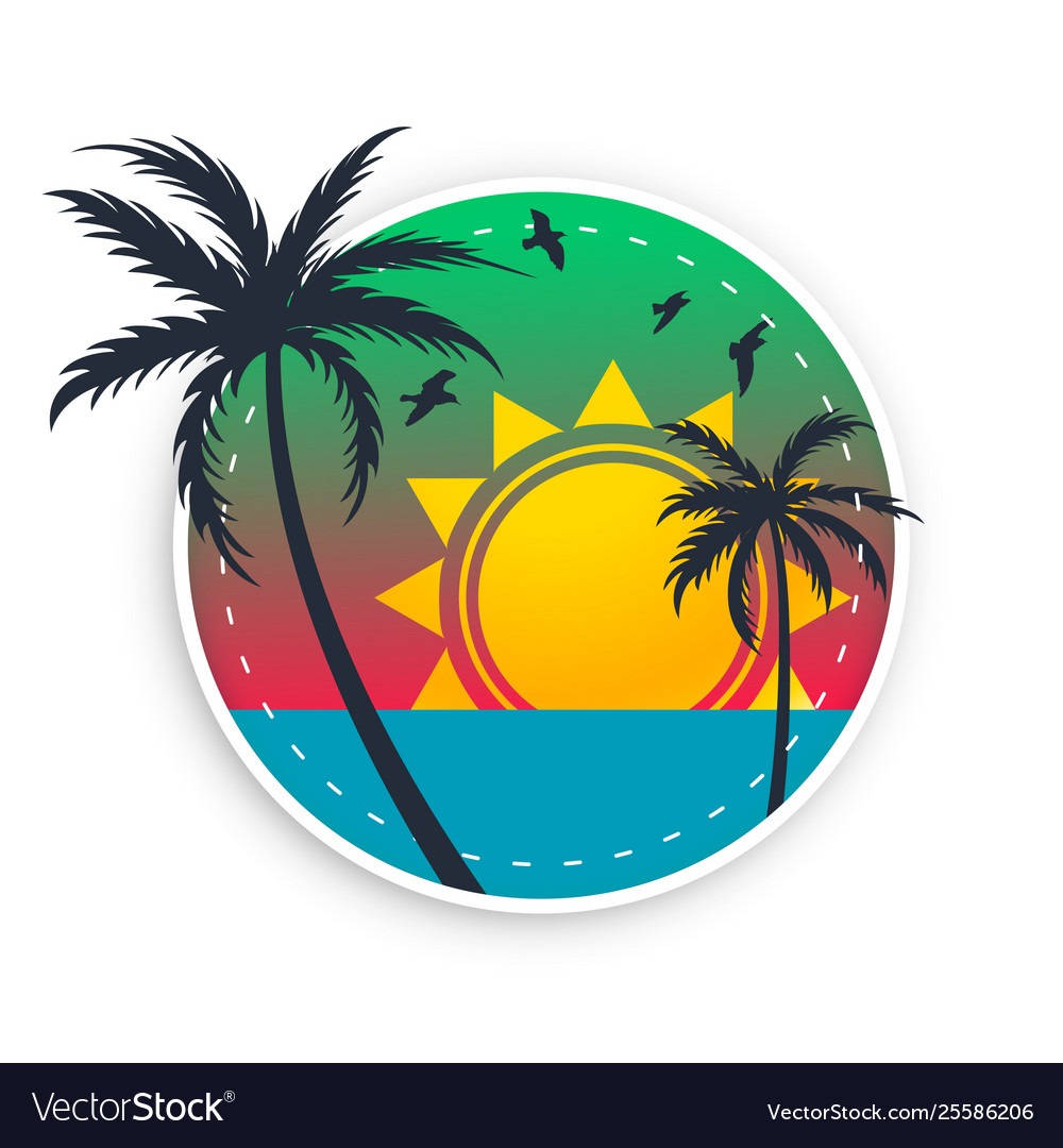 Tropical beach label with sun birds and palm trees