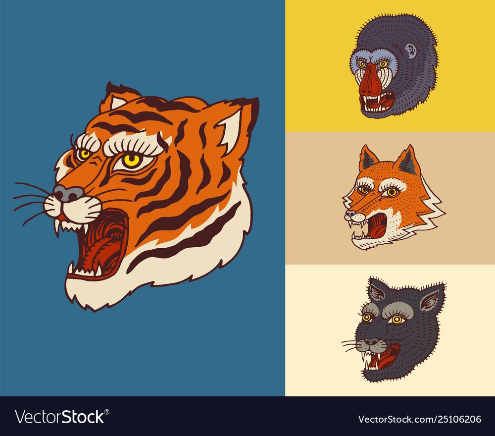 Vintage animal heads logo for t-shirt wild asian