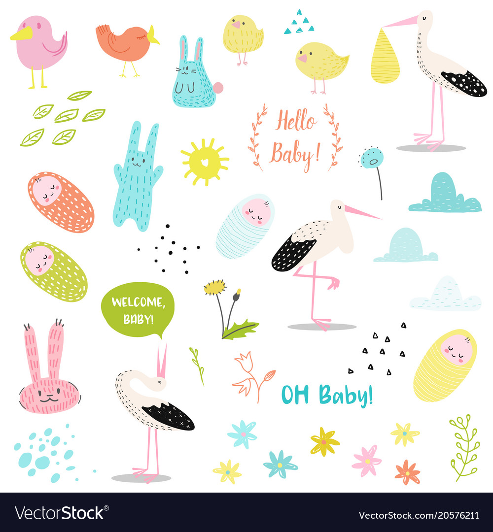 Baby shower decorative elements set with stork
