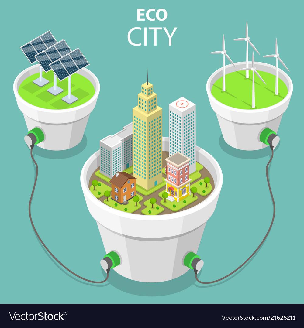 Eco city flat isometric concept